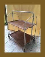 Retro,3 pozicióba állítható,nyitható,kerek zsúrkocsi,szervíz asztal