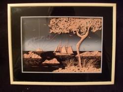 Chinai fa Csodás  Kézi Faragású Dísz Kép