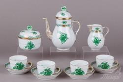 4 személyes Herendi zöld Apponyi mintás kávéskészlet