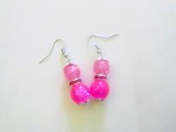 Nagyon szép,pink üveg gyöngy fülbevaló