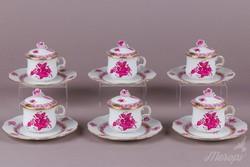 6 db Herendi Apponyi purpur csokis csésze kistányérral