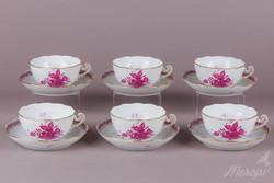 6 db Herendi Apponyi purpur mintás nagy teáscsésze aljjal