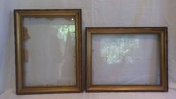 Üvegezett arany-fa képkeret párban , álló , fekvő