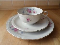 Régi Waldsassen Bareuther Bavaria porcelán csésze reggeliző szett 3 db-os