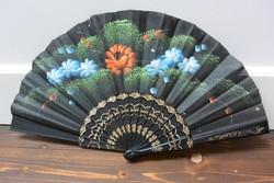 Spanyol festett virágos selyem csipke legyező