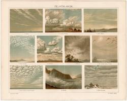 Felhőalakok, Pallas színes nyomat 1895, eredeti, antik, nimbus, stratus, felhő, régi