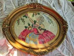Antik  barokk női gobelin