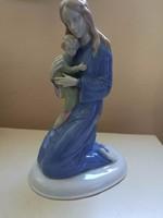 Ritka, nagy méretű Metzler-Ortloff anya gyermekével porcelán figura