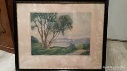 Antik pasztell festmény eladó Art Deco kerettel, szignózott