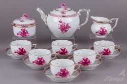 Herendi Apponyi purpur mintás 6 személyes teáskészlet
