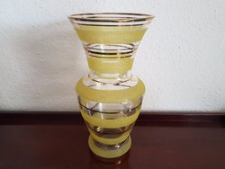 Retro sárga-arany csíkos üveg váza