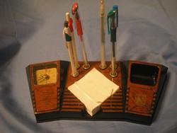 N3 Art decó Orosz bakelit iróasztali órával tolltartóval