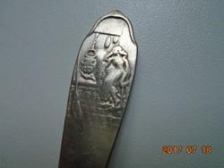Georg Nilsson -relief középkori jelenettel-ezüstözött GERO-holland gyerek kanál-