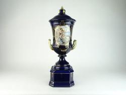 0N502 Antik hatalmas kék Eichwald urnaváza 51.5 cm