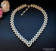 Esküvői nyaklánc fehér gyöngy nyaklánc alkalmi ékszer ezüst