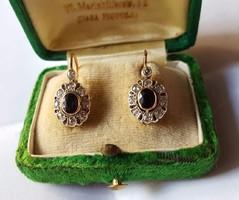 Antik arany gyémántos margaréta fülbevaló zafírokkal, patent zárral 14Kt