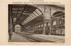 Budapest - Keleti pályaudvar és Nyugati pályaudvar, egy színű nyomat 1896, eredeti, régi
