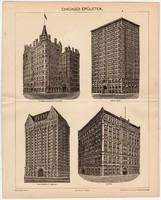 Chicagói épületek, Pallas nyomat 1898, eredeti, antik, Chicago, Amerika, USA