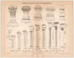 Görög és római oszloprendszerek, egy színű nyomat 1894, eredeti, oszlop, építészet, ókori