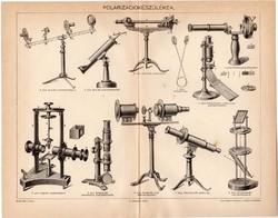 Polarizációkészülékek, egy színű nyomat 1898, eredeti, antik, régi, polarizáció, készülék