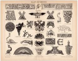 Állati ékítmények, egy színű nyomat 1894, eredeti, antik, régi, sas, kagyló, sárkány, delfin, ló