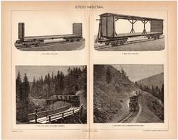 Erdei vasútak, egy színű nyomat 1896, eredeti, antik, régi, vasút, vasúti kocsi