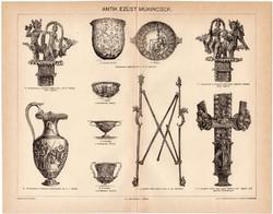 Ezüst műkincsek, egy színű nyomat 1894, eredeti, antik, régi, lelet, kincs