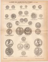 Közép - és újkori érmek II., régi nyomat 1896, angol, német, frank, érme, porosz