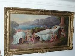 Gyönyörű óriási méretű antik szignált olaj-vászon festmény blondel keretben