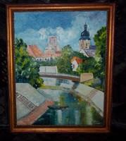 Duna part-Győr Csodás antik képkeretben Igényeseknek