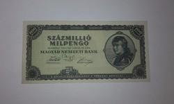 Százmillió Milpengő  1946-os hibátlan hajtatlan UNC  bankjegy !!