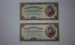 Százmillió Pengő 1946-os hibátlan hajtatlan UNC  bankjegy !!