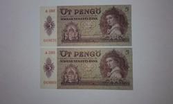 5 Pengő,1939-es hibátlan hajtatlan UNC sorszámkövető bankjegy !!