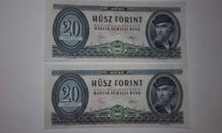 20 Forint 2 db sorszámkövető,1975-ös UNC hibátlan bankjegy !