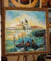 """NAGYMÉRETŰ valódi festmény """"Titokzatos Velence"""" 80x80 cm"""