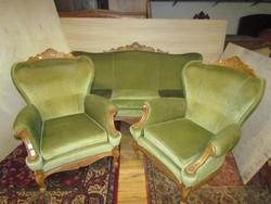 Neobarokk szalongarnitúra 3-as kanapé + 2 fotel