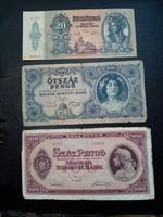 3 db Pengő bankjegy (20 , 100 és 500 Pengő)