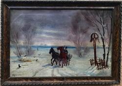 Benyovszky István - Lovas szekér a téli tájban