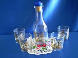 Régi, Görög mintával festett üveg pálinkás készlet 1 üveg és 4 pohár