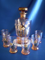 Antik kézzel festett üveg likőrös, pálinkás, likőrös készlet 1+6 db