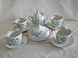 Régi orosz porcelán 4 személyes kávés / teás készlet vajtartóval, cukortartóval