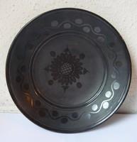 Csabai L . HMV  vásárhelyi fekete kerámia falitányér  24.5 cm