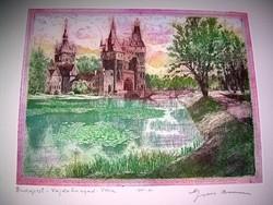 Gross Arnold Budapest - Vajdahunyad vára eredeti színes rézkarc
