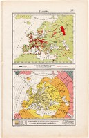 Európa térkép (ek) 1906, magyar atlasz, eredeti, magyar nyelvű, ipar, bány , kereskedelem, távolság