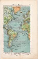 Atlanti - óceán térkép 1906, magyar atlasz, eredeti, magyar nyelvű, áramlat, óczeán, antik, régi