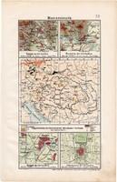 Magyarország térkép (ek) 1906, magyar atlasz, eredeti, Kassa, Pozsony, Szeged, Debrecen, bányászat