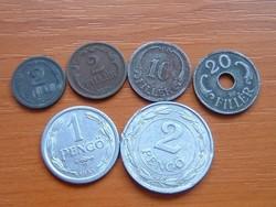 2+2+10+20 FILLÉR + 1+2 PENGŐ 1938-1943 6 DB HORTHY KORSZAK