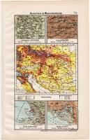 Ausztria és Magyarország térkép (ek) 1906, magyar atlasz, eredeti, monarchia, népsűrűség, Triest