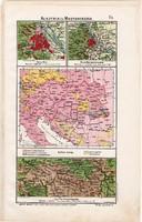 Ausztria és Magyarország térkép (ek) 1906, magyar atlasz, eredeti, monarchia, Bécs, vallás, Iser