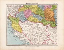 Délnyugat - Magyarország térkép 1906, magyar atlasz térképe, eredeti, Homolka József, antik, régi